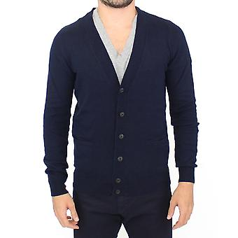 Blue wool cashmere cardigan pullover sweater