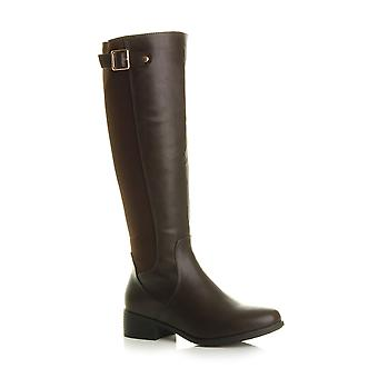 Ajvani womens low heel stretch elastic smart work knee high riding boots