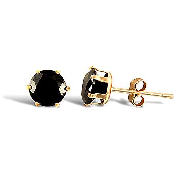 Jewelco London Ladies 9ct Yellow Gold Black Round Brilliant Cubic Zirconia Solitaire Claw Set Stud Earrings, 5mm