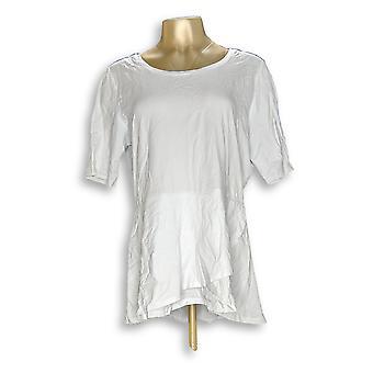 Isaac Mizrahi Live! Women's Top Elbow Sleeve Peplum Flounce White A303962
