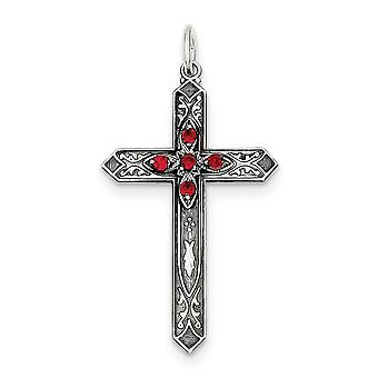 925 Sterling Silver Flat dos Finition antique Synthétique Juillet Cross Charm