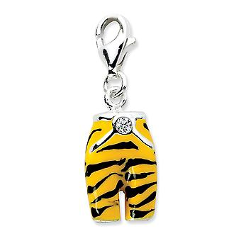 925 Sterling Silver Rhodium-plated Fancy Lobster Closure Click-on Cubic Zirconia Enamel Tiger Pants Charm - Measures 28x