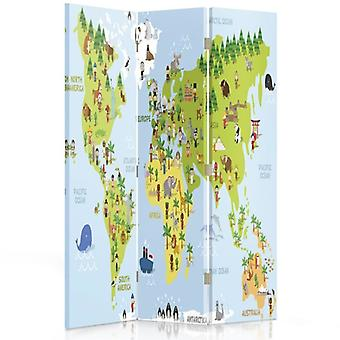 Room Divider, 3 Panels, Double-Sided, 360 ° Rotatable, Canvas, Map Of The World For Children
