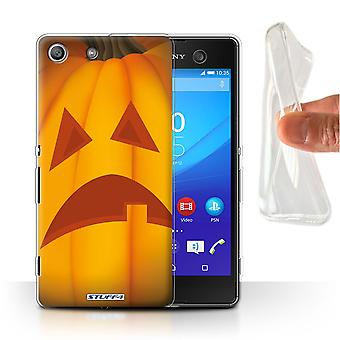STUFF4 Gel/TPU Case/Cover for Sony Xperia M5/Sad/Halloween Pumpkin