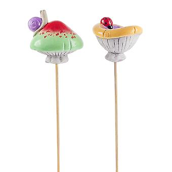 Pair of Glazed Terracotta Garden Mushroom Ornaments on Sticks with Insects