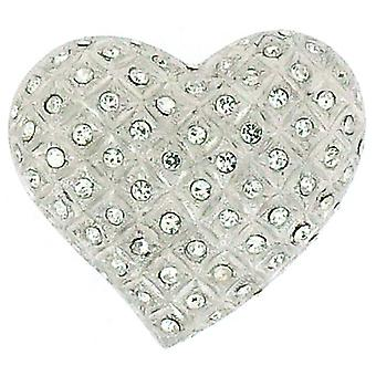 Brooches Store Large Swarovski Crystal & Silver Heart Brooch