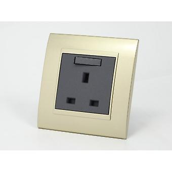 I LumoS AS Luxury Gold Plastic Arc  Single Switched Wall Plug  13A UK Sockets