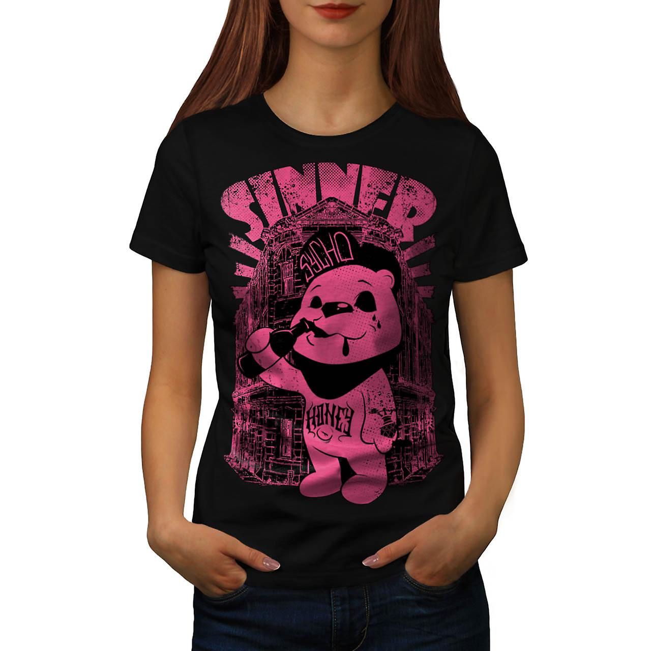 Sinner Teddy Ted Bear Psycho Cub Women Black T-shirt | Wellcoda