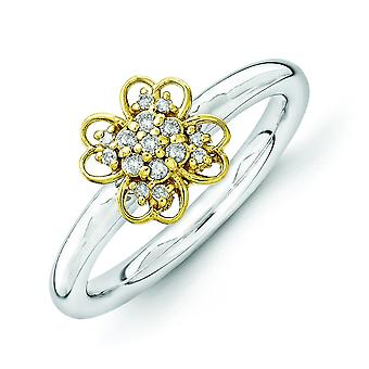 2.25mm Sterling Silver Rhodium-plated and 14k Gold-Flashed Stackable Expressions Diamond Flower Ring - Ring Size: 5 to 1