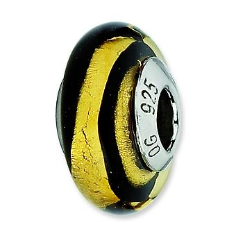 Sterling Silver Reflections Gold Black Stipes Italian Murano Bead Charm