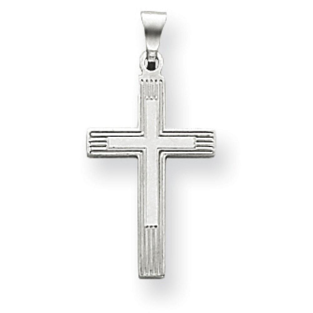 14k blanc or solide poli Not engraveable Cross Charm - 1.1 Grams - Measures 18x12mm