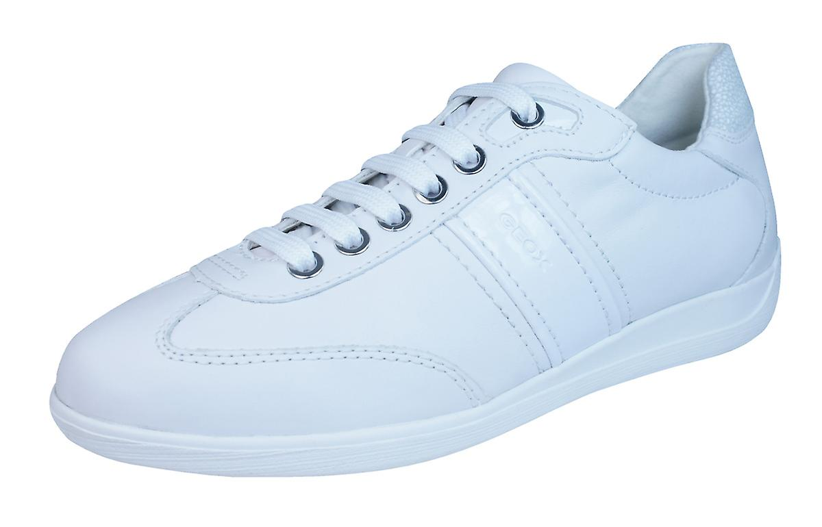 Geox D Myria A Womens Leather Trainers / Shoes - White