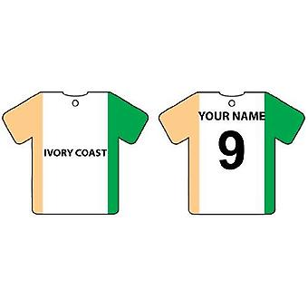 Personalised Ivory Coast Flag Jersey Car Air Freshener