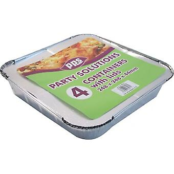 23x23cm Disposable 4pk Foil Containers with Lids for Catering Roasting Tray