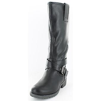Ladies Spot On Asymmetric Zip Biker Style Boots Black Size 7