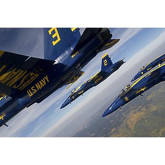 FA-18 Hornets of the Blue Angels fly in formation over Colorado Poster Print