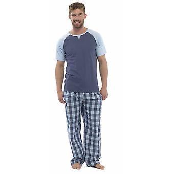 Mens Wolf & Harte Cotton Short Sleeve Top And Check Trouser Pyjama Lounge Wear