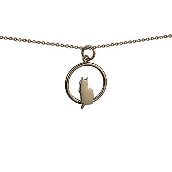 9ct Gold 18x19mm sitting Cat with tail to the left in a circle Pendant with a cable Chain 16 inches Only Suitable for Children
