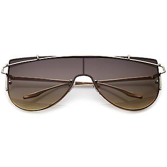Futuristic Rimless Metal Crossbar Nuetral Colored Mono Lens Shield Sunglasses 64mm