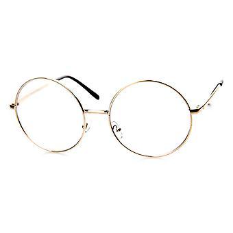 Stora överdimensionerade metallram klarglas runda cirkeln glasögon