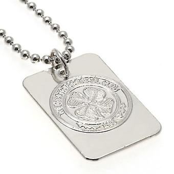 Celtico argento placcato Dog Tag & catena