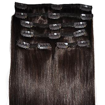 #4 Dark Brunette - Clip-in Hair Extensions - Full Head