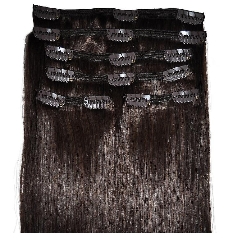 #4 - dunkelbraun, Brünette, Luxus, vollen Kopf, echte Clip-in Hair Extensions - 100 % Remy, dreifach Schuß, dicken Menschenhaar