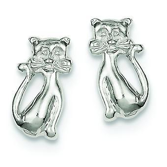 Sterling Silver Solid Polished Post Earrings Cat Mini Children Earrings - 1.9 Grams