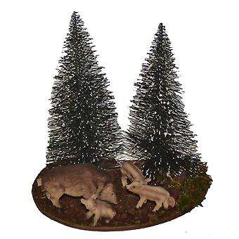 Wild boar square with Bache and Frischlingen and pine crib crib accessories