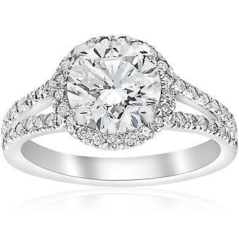 2 1/2ct Halo Diamond Engagement Ring Split Shank Pave Enhanced 14k White Gold