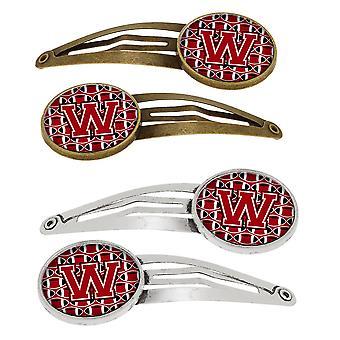 Letter W voetbal rood, zwart en wit Set van 4 haarspeldjes Hair Clips
