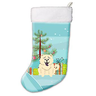 Merry Christmas Tree Chow Chow White Christmas Stocking