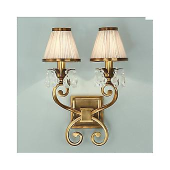Interiors 1900 Brass Single Wall Light, Beige Shades