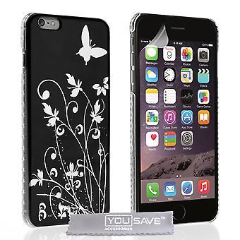 iPhone 6 Plus kwiatowy motyl Hard Case - czarno-srebrny