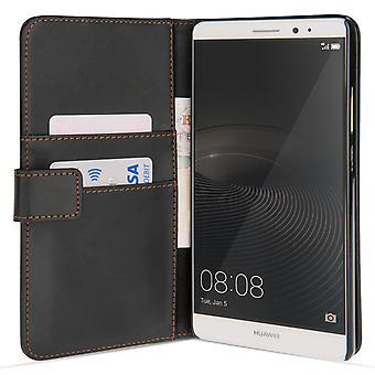 Guarde acessórios Huawei Mate 8 efeito carteira estojo de couro - preto
