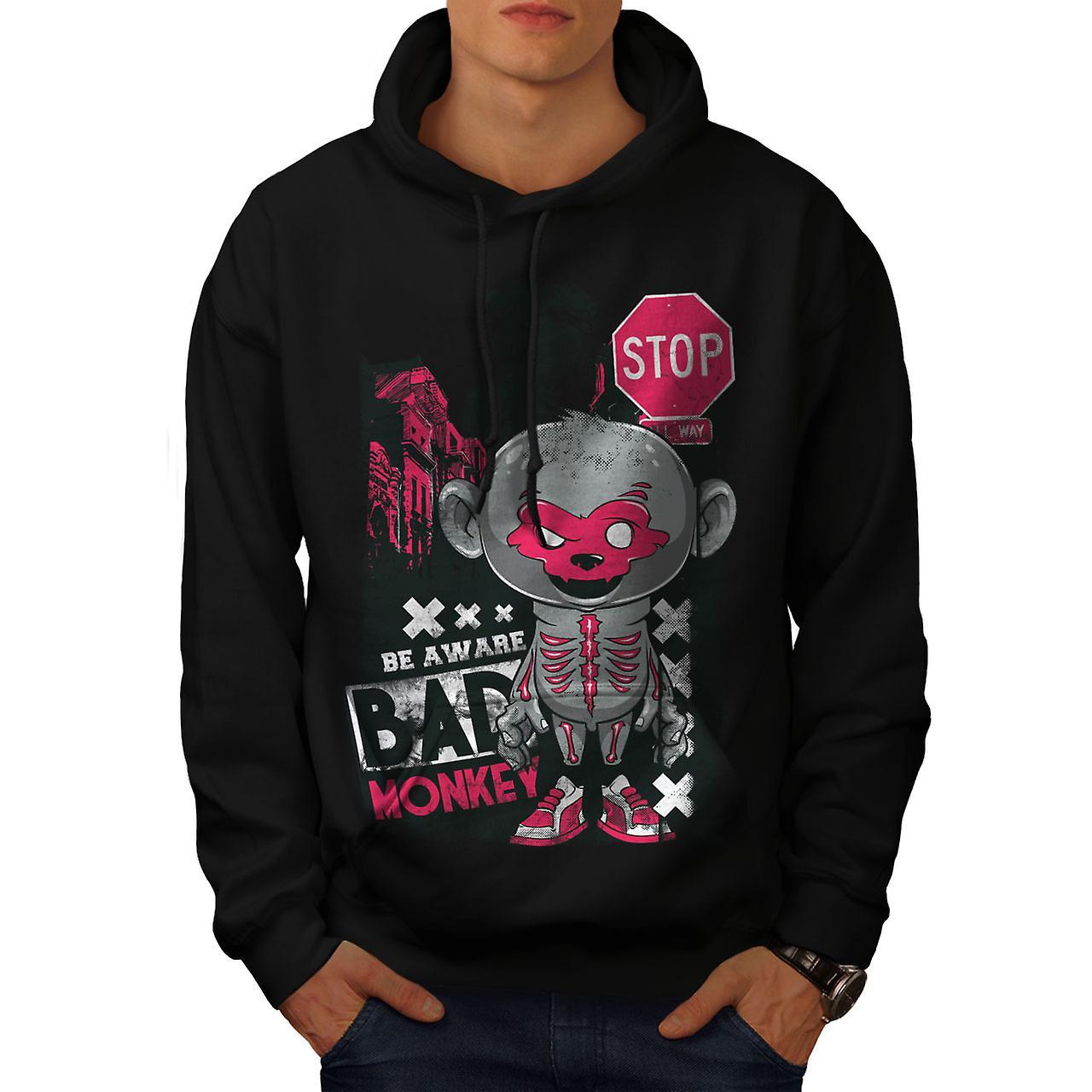 Bad Monkey Stop Zombie Men Black Hoodie   Wellcoda