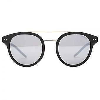 Polaroid Round Double Bridge Sunglasses In Matte Havana Grey Green Mirror Polarised