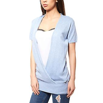 Bruno banani short sleeve ladies sweater 2-in-1 with top blue