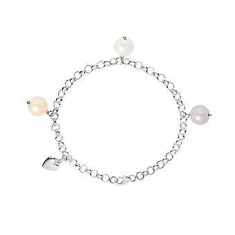 Bracelet Coeur Perle de culture d'eau douce Blanche, Peche et Lavande et Argent 925