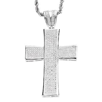 Iced out bling MICRO PAVE pendants - STRIPE CONCAVE CROSS