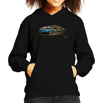 Chevrolet Corvette Stingray Convertible Desert Art Black Kid's Hooded Sweatshirt