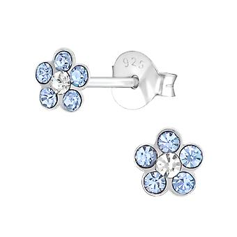 Flower - 925 Sterling Silver Crystal Ear Studs