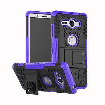 Hybrid fall 2 bit SWL robot lila för Sony Xperia XZ2 kompakt väska fallet täcker skydd