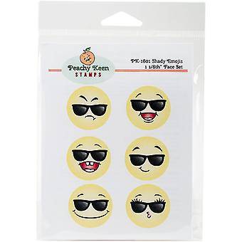 Peachy Keen Stamps Clear Face Set 6/Pkg-Shady Emojis