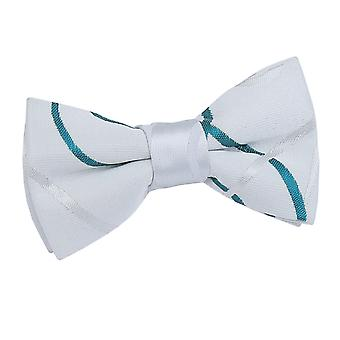 White & Teal Scroll Pre-Tied Bow Tie for Boys