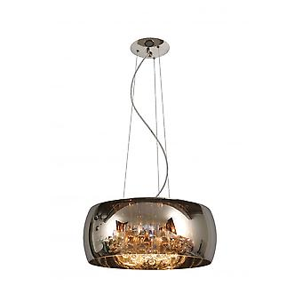 Lucide Modern Smoked Glass Circular Suspended Light With Crystals