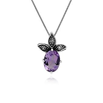 Gemondo Sterling Silver Amethyst & Marcasite February Pendant on 45cm Chain