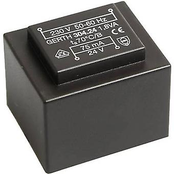 PCB mount transformer 1 x 230 V 1 x 21 V AC 1.80 VA 85 mA