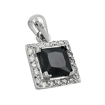 Pendant white gold pendants white gold 375, black stone, 9 KT white gold