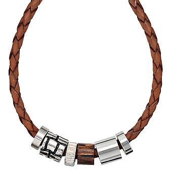 Necklace necklace Leather Brown with stainless steel and wood leather chain 45 cm